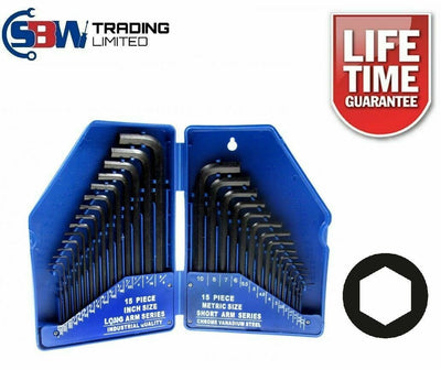 30pc Large Hex Allen Key Set Metric Imperial 0.7mm - 10mm - SBW Trading Limited