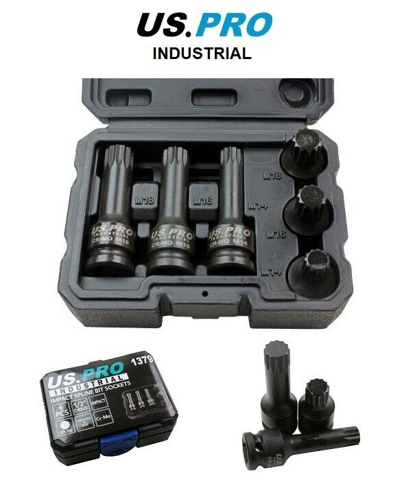 "US PRO INDUSTRIAL 6PC 1/2"" Dr Impact Spline Bit Sockets"