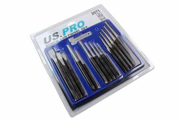 US PRO 16pc Punch & Chisel Set Cold Chisels Center Punch PIN Punch Taper Punch 2071 - SBW Trading Limited