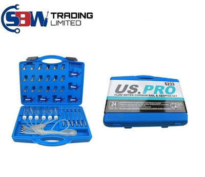 US PRO Flow Meter Common Rail Adaptor Set Diesel Spill Injector Tester Tool 5233 - SBW Trading Limited