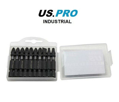 US PRO INDUSTRIAL PK 10 MIXED 50MM IMPACT TORSION SCREWDRIVER BITS PZ PH SL TX - SBW Trading Limited
