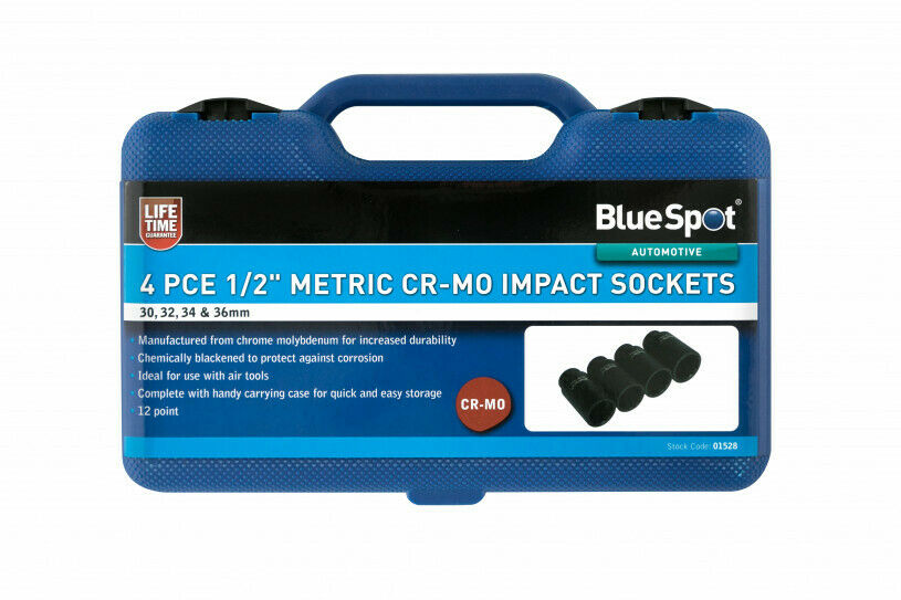 BlueSpot 4 Piece 1/2 Dr Metric Cr-Mo Metric Impact Sockets 30 - 36mm 01528 - SBW Trading Limited