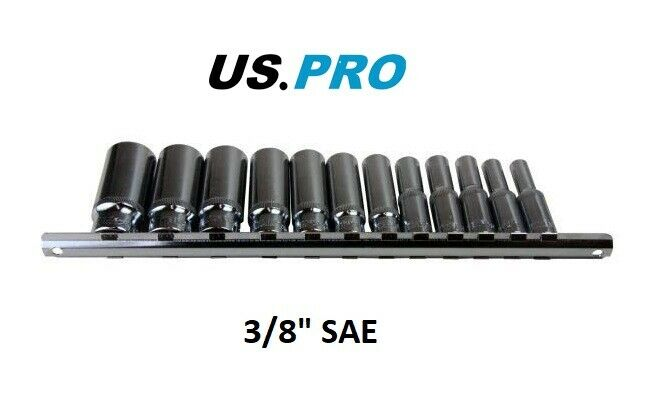 "US PRO Tools 12pc 3/8"" dr Deep SAE Imperial Sockets 3257 - SBW Trading Limited"