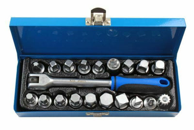 US PRO Tools 20 Piece 3/8 DR Drain Sump Plug Key Set 3298 - SBW Trading Limited
