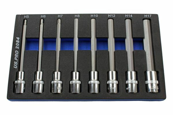 US PRO 8pc 1/2Dr 140mm Long Hex Bits Sockets Set - SBW Trading Limited