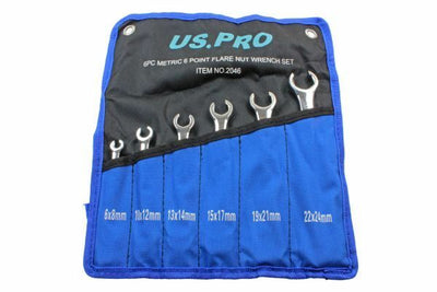 US PRO 6 Piece Metric 6 Point Flare Nut Spanner Wrench Set 6 - 24mm 2046 - SBW Trading Limited