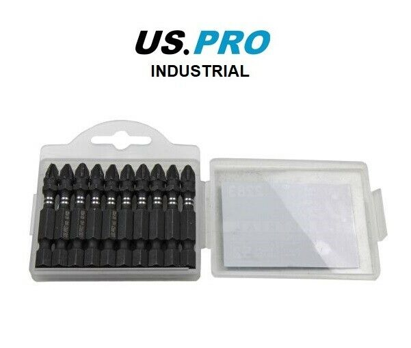 US PRO INDUSTRIAL PACK 10 PZ2 50MM IMPACT TORSION SCREWDRIVER BITS - SBW Trading Limited