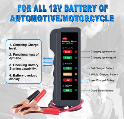 12V Mini Hand Held Battery and Alternator Tester - SBW Trading Limited