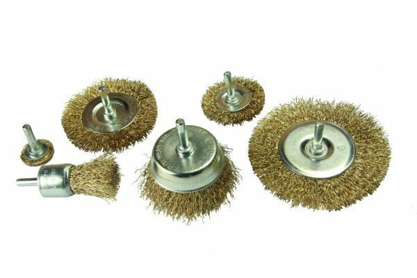 VEWERK BY BERGEN 6pc ROTARY WIRE BRUSH SET CUP BRUSH WHEEL SET B2106 - SBW Trading Limited