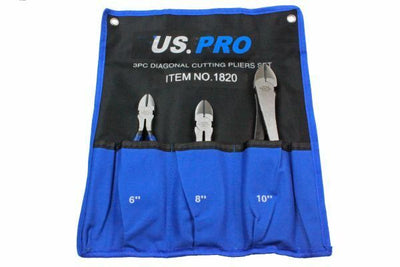 US Pro 3pc Diagonal Side Cutting Plier Set 6, 8, 10 1820 - SBW Trading Limited