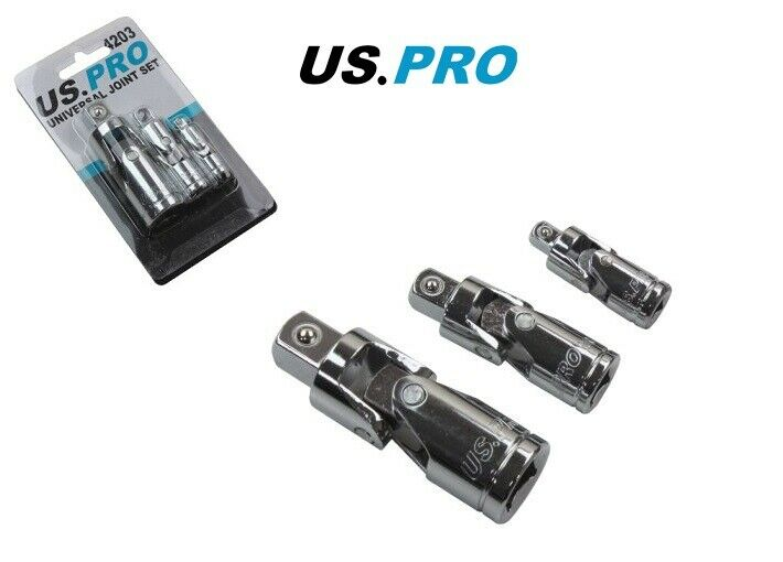 "US PRO 3PC UNIVERSAL JOINT SET 1/4"", 3/8"" & 1/2"" FLEXIBLE SOCKET JOINTS 4203 - SBW Trading Limited"