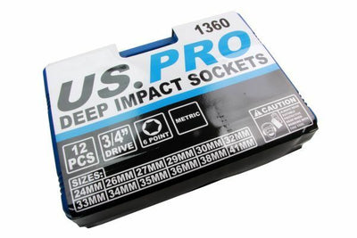 Quality 12pc 3/4 Dr Metric Cr-V Deep Impact Sockets 6 point New by US PRO 1360 - SBW Trading Limited