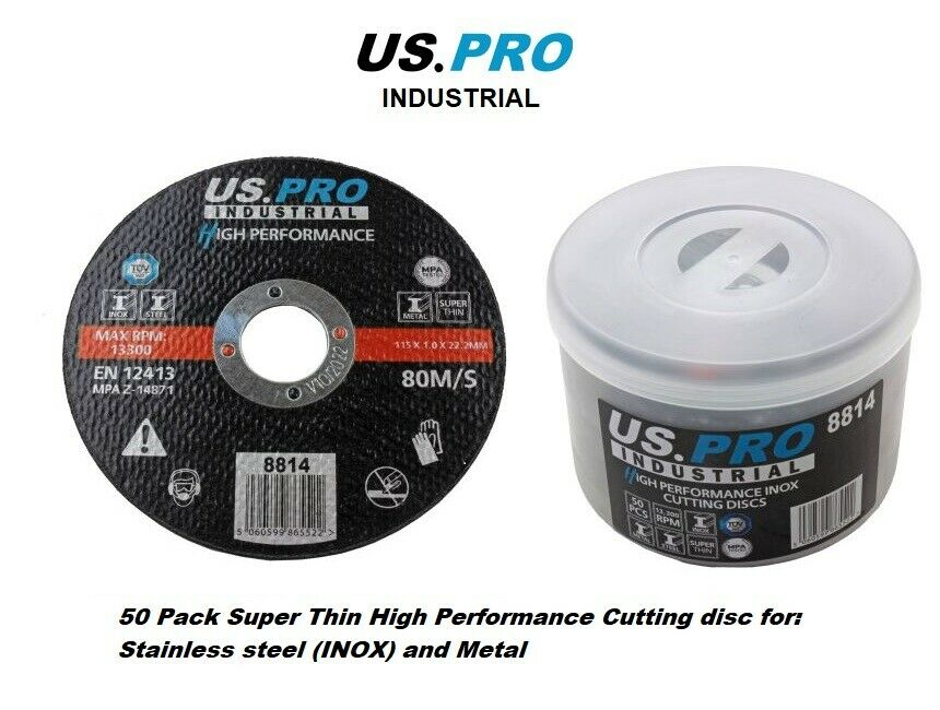 US PRO INDUSTRIAL High Performance INOX Cutting Discs 115 x 1.0 x 22.2 mm 50PK