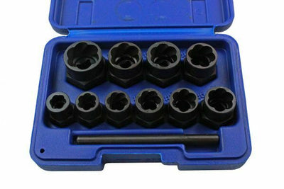 US PRO Tools 11pc Bolt Nut Extractor Set, Damaged Heads Studs Twist Sockets 2656 - SBW Trading Limited