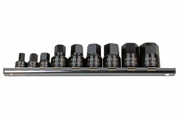 US PRO 9PC STUBBY IMPACT HEX/ALLEN BIT SOCKET SET - SBW Trading Limited