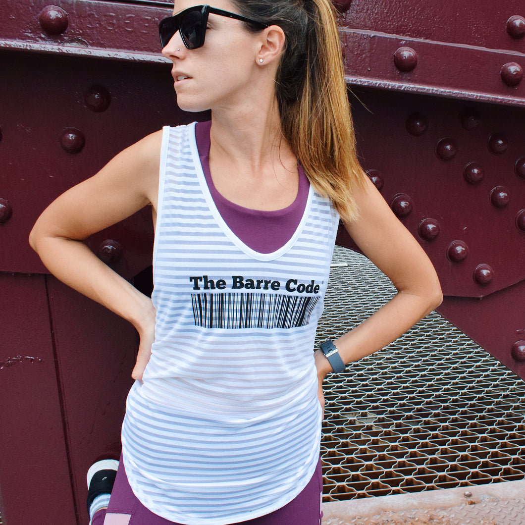 The Barre Code x Glyder Striped Tie-Back Tank
