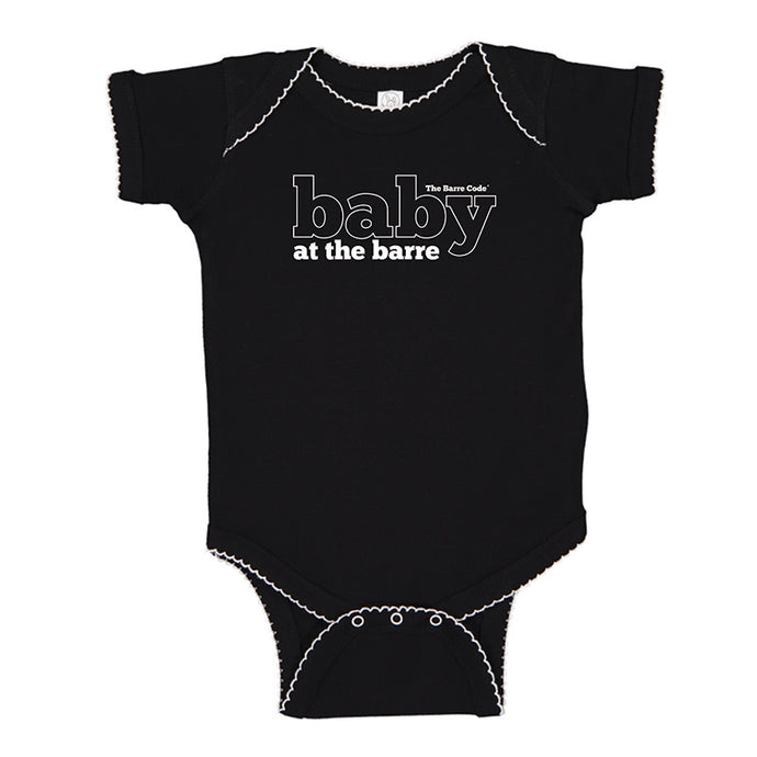 Baby at the Barre Baby Bodysuit Black Picot Onesie