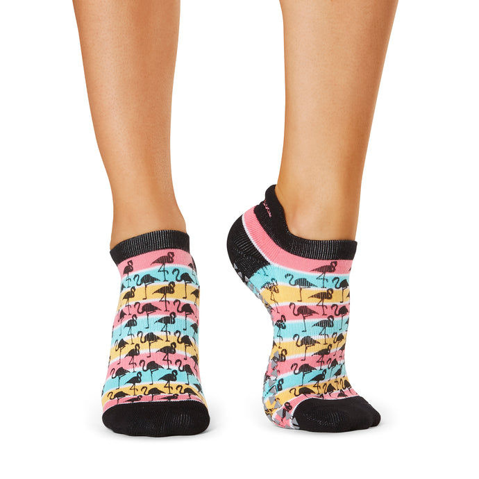 The Barre Code x Tavi Noir Flamingo Grip Socks