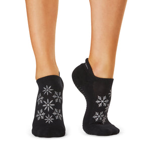 The Barre Code x Tavi Noir Silver Snowflake Grip Socks