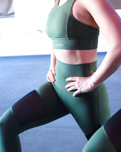 The Barre Code Mesh Panel Leggings - Army Green