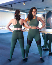 Load image into Gallery viewer, The Barre Code Mesh Panel Leggings - Army Green