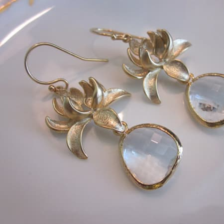 Laalee Jewelry Clear Crystal Earring: Gold Blossom