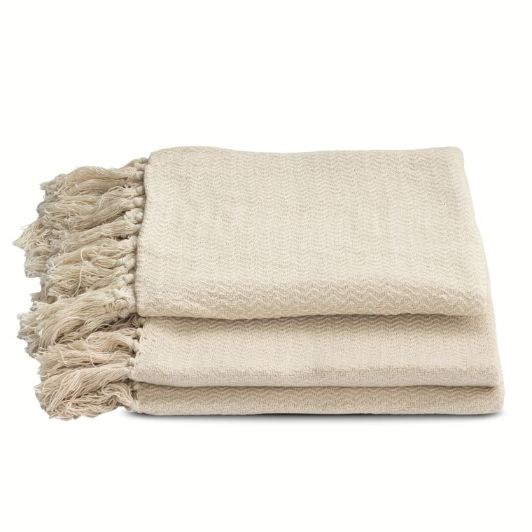 Chevron Two-Piece Cream Cotton Throw Set