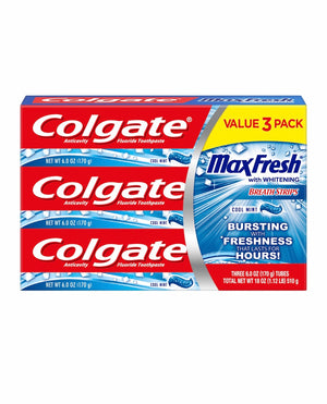 Colgate MaxClean Whitening Foaming Toothpaste with Fluoride, Effervescent Mint - 6 ounce (3 pack
