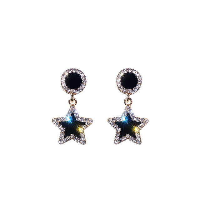 Statement Earrings 2019 Black Square Star Crystal Earrings For Women Gold Color Rhinestone Wedding Earings Fashion Jewelry Boho
