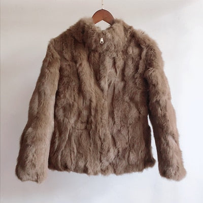 2019 High Quality Real Fur Coat Fashion Genuine Rabbit Fur Overcoats Elegant Women Winter Outwear Stand Collar Rabbit Fur Jacket