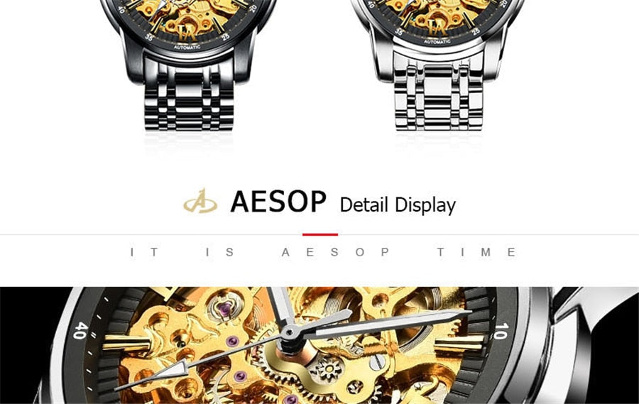 AESOP 2018 New Collection Black Case Stainless Steel Golden Skeleton Wacth Luxury Design Mens Watches Top Brand Automatic Watch