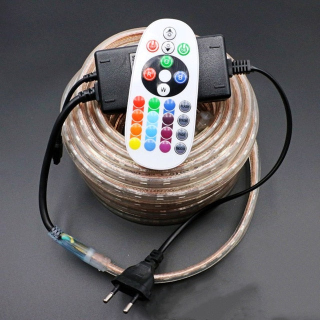 220V LED Strip Light RGB SMD 5050 Tape Phone APP and Remote control Waterproof flexible neon lights Outdoor room decoration lamp