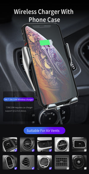 DCAE Automatic Clamping 10W Qi Wireless Car Charger Mount For iPhone XS XR X 8 Samsung S10 S9 Infrared Sensor car Phone Holder