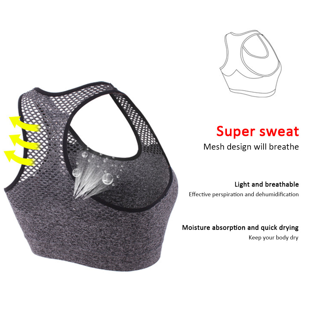 Mesh Sports Bra Hollow Out Sport Top Seamless Fitness Yoga Bras Women Gym Top Padded Running Vest Shockproof Push Up Crop Top