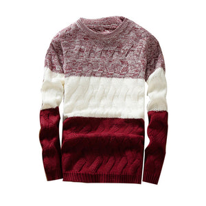 Men Autumn Sweaters O Neck Long Sleeve Sweater Patchwork Slim Fits Knitted Pullover Sweater Autumn Winter pull homme erkek mont