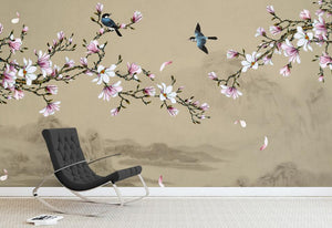 large-scale murals new Chinese style hand painted magnolia flowers and birds green background wallpaper