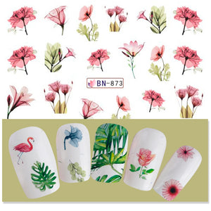 Mixed 12 Nail Designs Water Transfer Sticker Nail Art DIY Tattoo Slider Flamingo Flower Feather Polish Manicure Set CHBN865-876