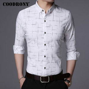 COODRONY Men Shirt Mens Business Casual Shirts Men Brand Clothes 2018 New Arrival Cotton Plaid Long Sleeve Camisa Masculina 8725
