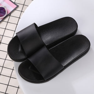 Women Beach Slippers Unisex Black Slides Summer Shoes Bathroom Flat Sandals Indoor Female Casual Shoes zapatos mujer Size 36-45