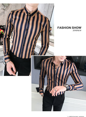 2019 New Business Shirt Men High Quality Turn Down Collar Slim Fit Men's Social Shirts Long Sleeve Gentlemen Striped Mens Shirts