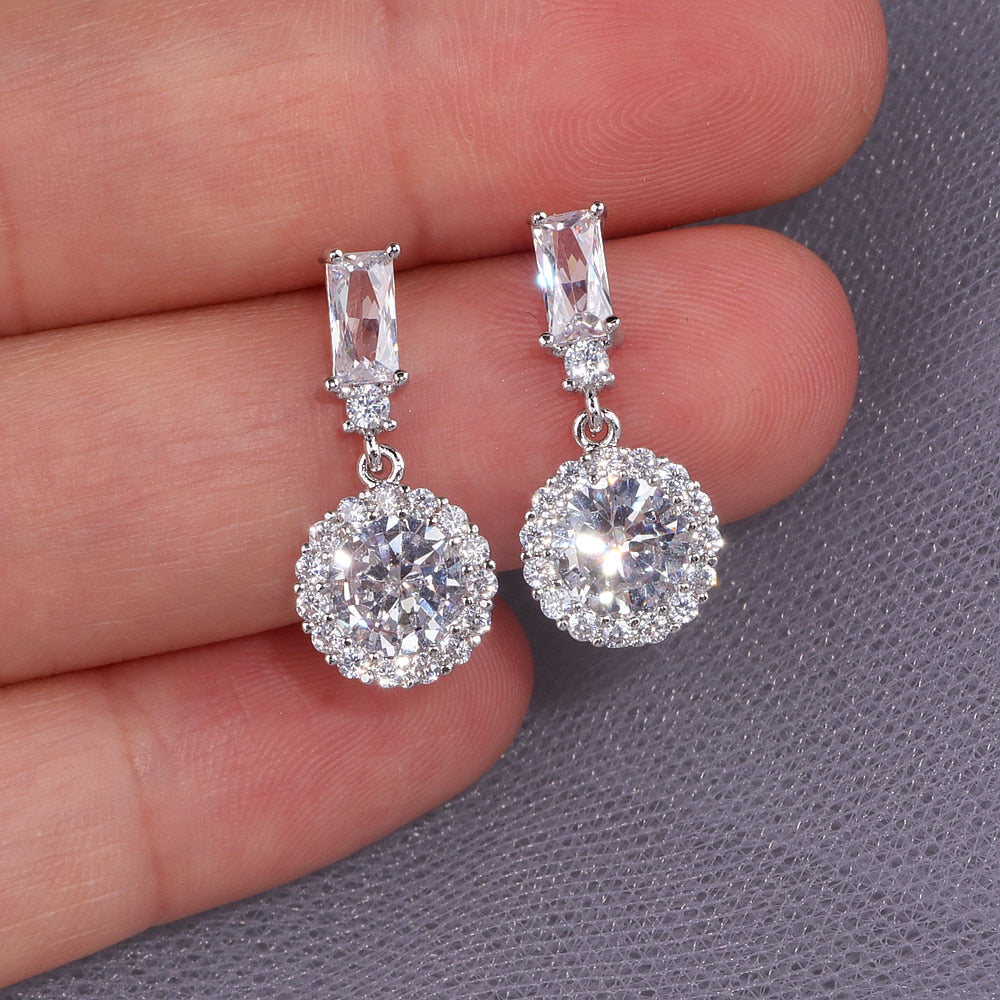Classic Luxury Round Cubic Zircon Earrings for Women Bride Silver Color Sparking Crystals Drop Earrings Wedding Earrings WX156