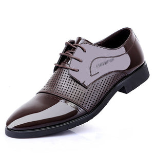 Mens genuine leather shoes men's dress shoes Business wedding shoes Oxfords lace up Pointed toe flats big size fgb34