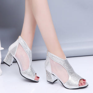 Fashion 2019 Women Sandals Bling 7cm High Heels Diamond Summer Square Heel Women Shoes Wedding Shoes Leather Sandalia Mujer m637
