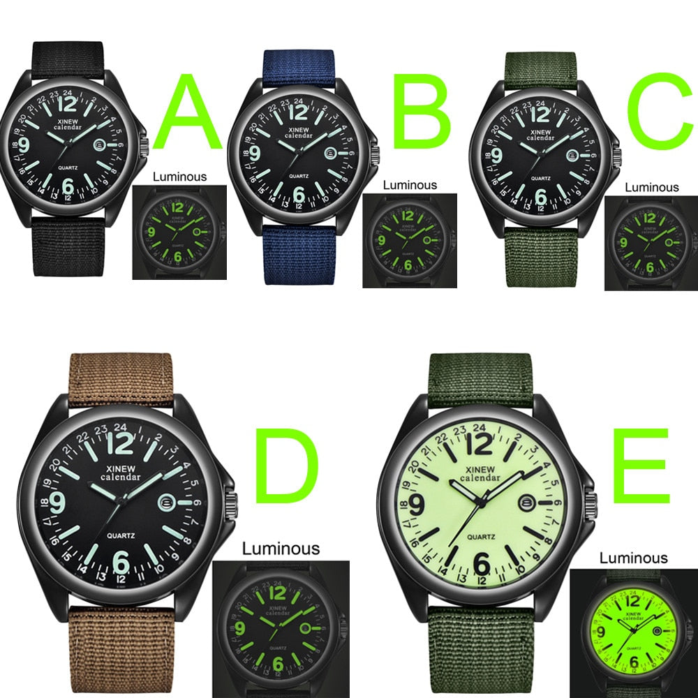 Top Brands Men Luminous Watches Military Mens Casual Nylon Strap Quartz Army Watch Black Dial Date Luxury Sport Wrist Watch Gift