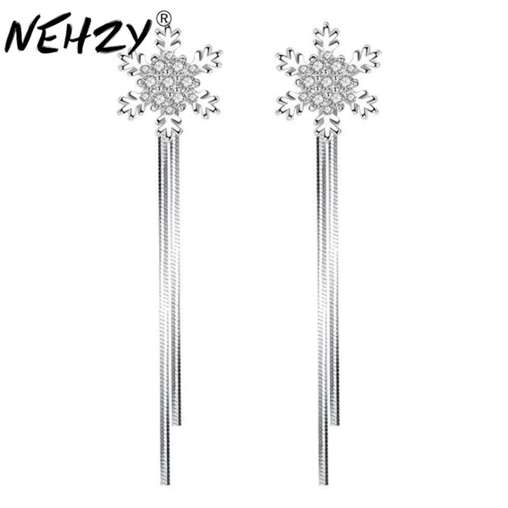 NEHZY 2018 Luxury fashion snowflake silver earrings hanging style exaggerated in the long female Drop Earrings brand jewelry