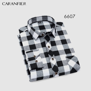 CARANFEIR Cotton Mens Casual Long Sleeved Shirt Plaid Striped Spring Slim Fit Male Business Shirt Brand Comfortable Breathable