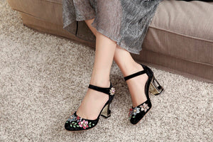 Kickway Women High Heel Shoes Woman New Sweet Round Toe Crystal Pumps Strange Style Heels Party Shoes women Plus size 34-43