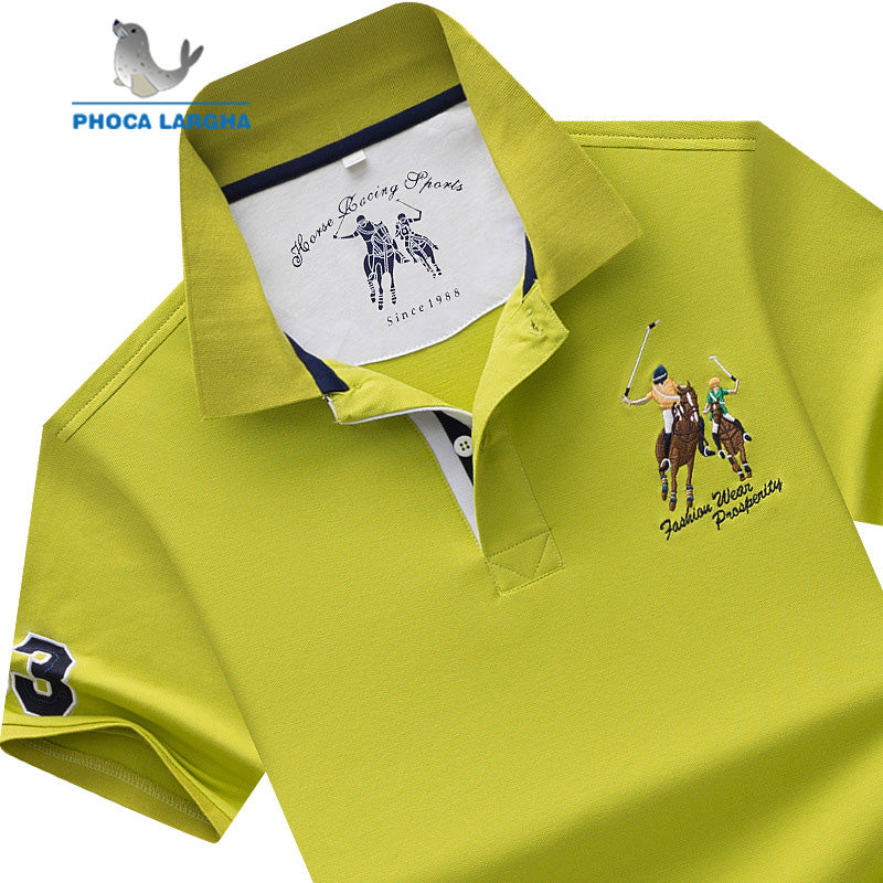 Men's POLO Shirts Brand Cotton Short Sleeve Camisas  solid embroidery Polo Summer Stand Collar Male Polo Shirt plus size S- 7XL