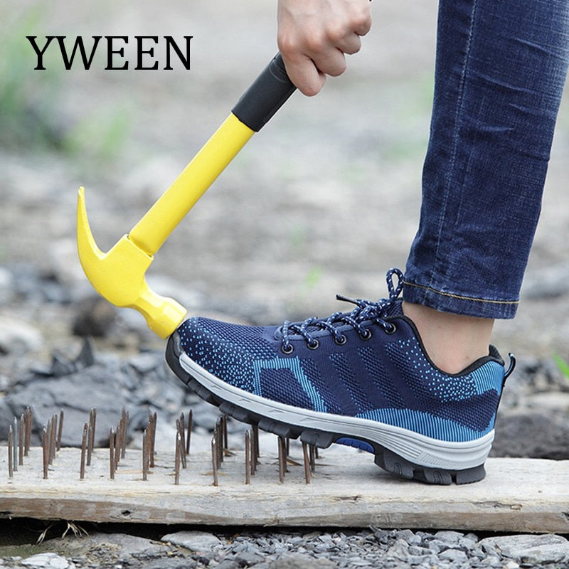 YWEEN Mesh Steel Toe Caps Safety&Work Shoes Men Fashion breathable Non-slip Platform Anti-puncture Tooling Boot Men's Shoes