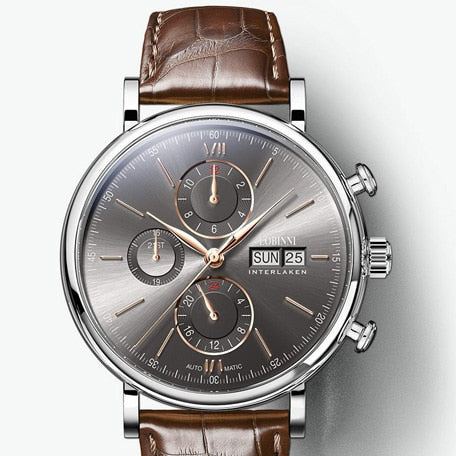 Switzerland LOBINNI Men Watches Luxury Brand Perpetual Calender Auto Mechanical Men's Clock Sapphire Leather relogio L13019-6